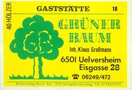 1 Altes Gasthausetikett, Gaststätte Grüner Baum, Inh. Klaus Graßmann, 6501 Uelversheim, Eisgasse 28 #242 - Matchbox Labels