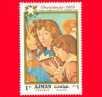EMIRATI ARABI - AJMAN - 1969 - Natale - Dipinto Di Sandro Botticelli - Madonna Con Il Melograno - 1 - Ajman