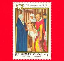 EMIRATI ARABI - AJMAN - 1969 - Natale - Dipinto Di Hans Memling - Presentazione Al Tempio - 2 - Ajman