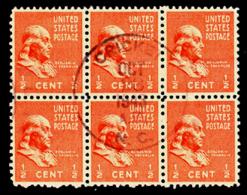 U.S.A. (1943) Cricket. Circular Cancel Of Cricket, North Carolina On Block Of 6 1/2c Stamps. - United States