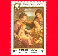 EMIRATI ARABI - AJMAN - 1969 - Natale - Dipinto Di Correggio - Matrimonio Di Santa Caterina - 3 - Ajman