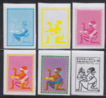 RWANDA (1975) Kneeling Woman Holding Scales Of Justice. Set Of 5 Color Separations. Scott No 677. Rwanda University - Other