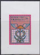 RWANDA (1975) Caduceus. Imperforate Proof. Scott No 679. 10th Anniversary Of Rwanda University. - Other