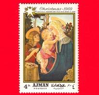 EMIRATI ARABI - AJMAN - 1969 - Natale - Dipinto Di Sandro Botticelli - Madonna Con Bambino E San Giovanni - 4 - Ajman