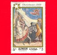 EMIRATI ARABI - AJMAN - 1969 - Natale - Dipinto Di Giotto Di Bondone - Fuga In Egitto - 5 - Ajman
