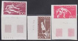 CONGO (1973) Hurdler. Pole Vault. Wrestlers. Set Of 3 Trial Color Proofs. Munich Olympics. Scott Nos C148-50 - Summer 1972: Munich