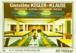 1 Altes Gasthausetikett, Gaststätte Kegler-Klause, Ilona+Gerhard Weiss, 6230 Ffm-Nied, Sportzentrum-Niddahalle #244 - Matchbox Labels