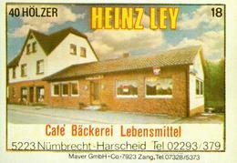 1 Altes Gasthausetikett, Cafe Bäckerei Lebensmittel Heinz Ley, 5223 Nümbrecht-Harscheid #246 - Matchbox Labels