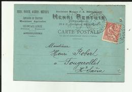 25 - Doubs - Besançon - Carte Pub. Ets Henri Pertuis - 29 Rue Battant - Quincaillerie - - Besancon