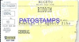 126224 ARGENTINA MUSIC RIDDIM NICETO VEGA ENTRADA TICKET NO POSTAL POSTCARD - Altre Collezioni