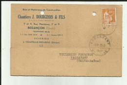 25 - Doubs - Besançon - Carte Pub. Ets J.Bourgeois - 9 Rue Montjoux - Scierie Chapelle Des Bois - - Besancon