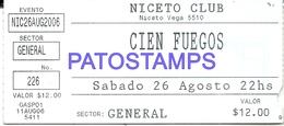 126225 ARGENTINA MUSIC CIEN FUEGOS NICETO CLUB ENTRADA TICKET NO POSTAL POSTCARD - Otras Colecciones