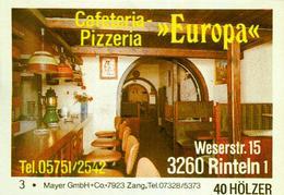 1 Altes Gasthausetikett, Cafeteria-Pizzeria Europa, 3260 Rinteln 1, Weserstr. 15 #248 - Matchbox Labels