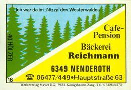 1 Altes Gasthausetikett, Cafe-Pension Bäckerei Reichmann, 6349 Nenderoth, Hauptstraße 63 #249 - Matchbox Labels