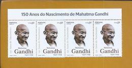 Mahatma Gandhi. Block Of 4 Stamps From Mahatma Gandhi's 150th Anniversary. Block Mit 4 Briefmarken Aus Mahatma Gandhis - Mahatma Gandhi