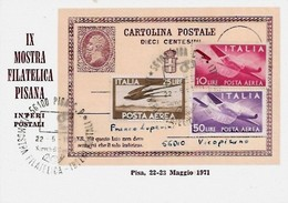 22,23-5-1971 IX Mostra Filatelica Pisana (n. Cartolina 368 Di 500) - Esposizioni Filateliche
