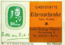 1 Altes Gasthausetikett, GaststätteRheinschenke, Fam. Kreier, 5485 Sinzig/Rhein, Privatweg 8 #250 - Boites D'allumettes - Etiquettes
