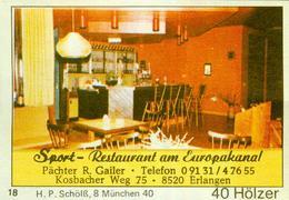 1 Altes Gasthausetikett, Sport-Restaurant Am Europakanal, Pächter R. Gailer, 8520 Erlangen, Kosbacher Weg 75 #252 - Matchbox Labels