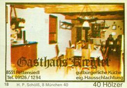 1 Altes Gasthausetikett, Gasthaus Riegler, 8551 Pettensiedl #253 - Matchbox Labels