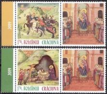 ROMANIA, CHRISTMAS 2019, Religion, Painting, Icon, Set Of 2 + Label, MNH (**); LPMP 2261 - 1948-.... Repúblicas