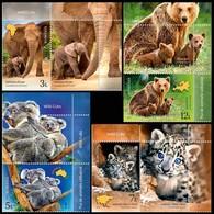 ROMANIA, 2019, WILD CUBS, Elephant, Koala, Leopard, Brown Bear, Set Of 4 + Label, MNH (**); LPMP 2228 - 1948-.... Repúblicas