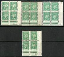 """N° 513 (x16) **/* (MNH/MH). 4 Coins Datés Différents / """"Pétain"""" Voir Description Détaillée - Ecken (Datum)"""
