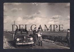 REAL PHOTO POSTCARD PORTUGAL LISBOA GUARDA NACIONAL REPUBLICANA FISCALIZAÇÃO PEUGEOT 203 PICKUP - 1950'S - Lisboa