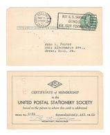 USA 1949 UX26 S36 PrePostal Stationery Card 1c Green Lincoln UPSS Membership Cert - Postal History