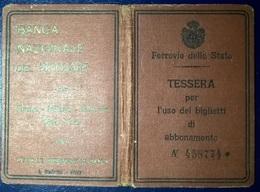 TESSERA FERROVIE 1928 - Abonnements Hebdomadaires & Mensuels