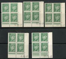 """N° 508 (x16) ** (MNH). 5 Coins Datés Du 13 Et 17 /10/41, 21/11/41, 6/12/41 Et 22/01/42 / """"Pétain"""". Voir Description - 1940-1949"""