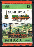 ST. LUCIA - 1983 - Locomotives: Flying Scotsman, Stephenson's Rocket - USATI - St.Lucia (1979-...)