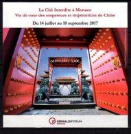2017 Monaco  Exhibition Forbidden City Life At The Palace Of China Emperors MS MNH** MI B 123 Art, History, Architecture - Monaco