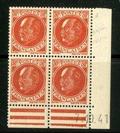"""N° 506 (x4) ** (MNH). Coin Daté Du 7/10/41 / """"Pétain"""". - Ecken (Datum)"""
