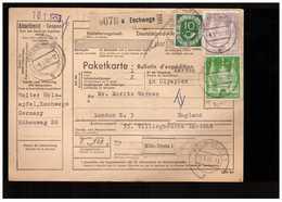 Allemagne 1953 Paketkarte Bulletin à Expédition Deutschland Cachet Eschwege 2dm 1dm 10pf Pour Londres London England - [7] Repubblica Federale