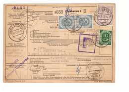Allemagne 1953 Paketkarte Bulletin à Expédition Deutschland Cachet Cuxhaven 2dm 50pf 10pf Pour Londres London England - BRD