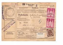 Allemagne 1953 Paketkarte Bulletin à Expédition Deutschland Cachet Mulheim Dietesheim 3dm 60pf Londres London England - BRD