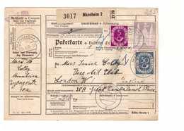 Allemagne 1953 Paketkarte Bulletin à Expédition Deutschland Cachet Mannheim 2dm 30pf 5pf Pour Londres London England - BRD