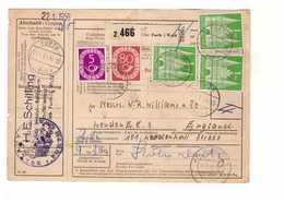 Allemagne 1953 Paketkarte Bulletin à Expédition Deutschland Cachet Furth Wald 1dm 80pf 5pf Pour Londres London England - [7] Repubblica Federale