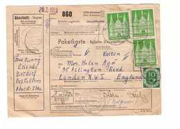 Allemagne 1953 Paketkarte Bulletin à Expédition Deutschland Cachet Dierdorf 1dm 10pf  Pour Londres London England - [7] Repubblica Federale