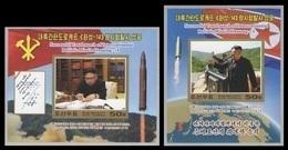 North Korea 2017 Mih. 6400B/01B (Bl.947B/48B) Intercontinental Ballistic Missile Hwasong-14. Kim Jong Un (imperf) MNH ** - Korea, North