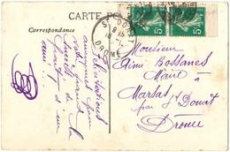 PAIRE VERTICALE DE CARNET 5C SEMEUSE VERT SUR CP - 1906-38 Semeuse Camée