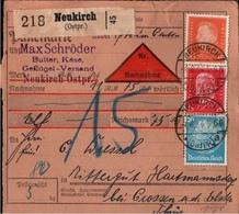 ! 1934 Schöne Nachnahme Paketkarte Deutsches Reich, Neukirch In Ostpreußen, Crossen - Deutschland