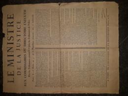 Avis Du Ministre De La Justice Aux Commissaires Du Directoire Exécutif, PARIS 16 Nivôse An 5 (1796) - Wetten & Decreten