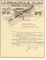"67 - Bas-rhin - SELESTAT - Facture ROEDELE - Construction De Remorques ""ALSA"" - 1956 - REF 128A - France"