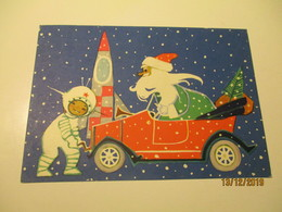 USSR RUSSIA ESTONIA NEW YEAR SPACE SANTA CLAUS ROCKET AUTOMOBILE   ARTIST FUKS 1965   , POSTCARD   , O - Anno Nuovo