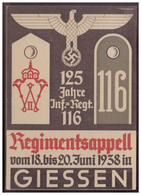 Dt-Reich (w00040) Propagandakarte, Regimentsappell 125 Jahre Inf.Regt.116 Giessen, Gelaufen Am 11.6.1938 Giessen - Brieven En Documenten