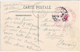 SAVOIE CP 1915 AIX LES BAINS HOPITAL HOPITAL MILITAIRE HOTEL GRAND CERCLE AIX LES BAINS - Marcophilie (Lettres)