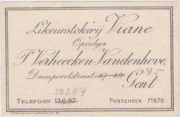 Reclame-visitekaartje Van Likeurstokerij Viane, Gent - Zonder Classificatie