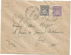 ARC TRIOMPHE  5FR+2FR50 LETTRE EXPRES PARIS 118 16.X.1944 POUR PARIS AU TARIF AFFR RARE - 1944-45 Arco Del Triunfo