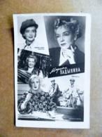 Soviet Period Post Card Carte Karte Issued Ussr Russia Film Cinema Movie Actress Russian Marina Ladynina Motorcycle Moto - Acteurs